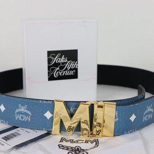 New MCM Blue Reversible Visetos Leather Gold M